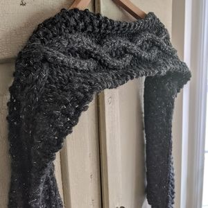 Handmade knit scarf, charcoal gray with silver